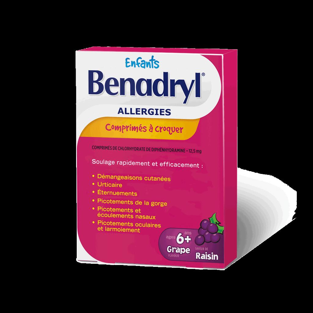 Comprimés à croquer de Benadryl Allergies pour enfants - Saveur de raisin
