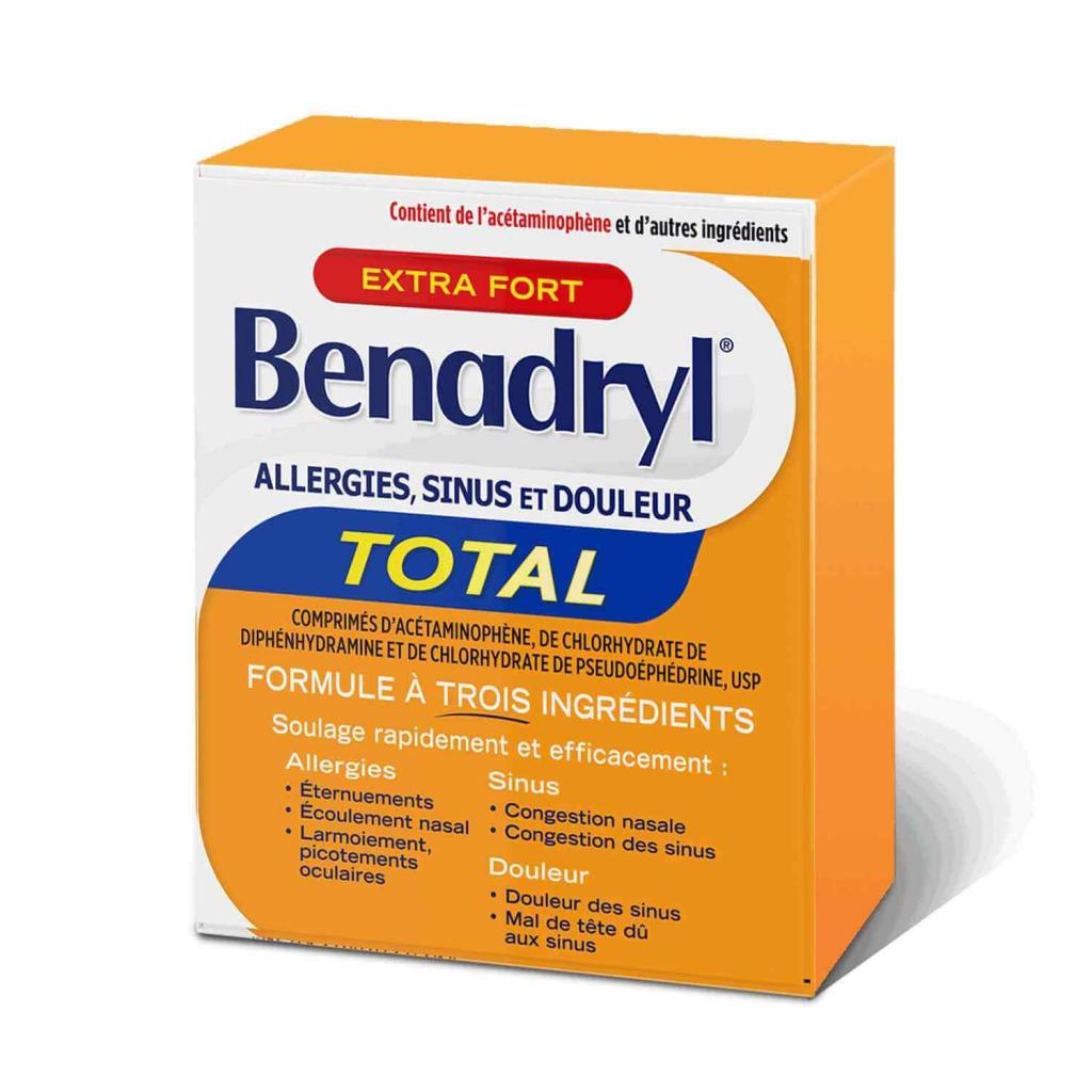 Boîte de comprimés Benadryl Extra-puissant Allergies, sinus et douleur